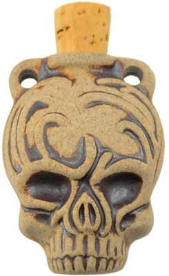 Calavera Skull Raku Oil Bottle Pendant