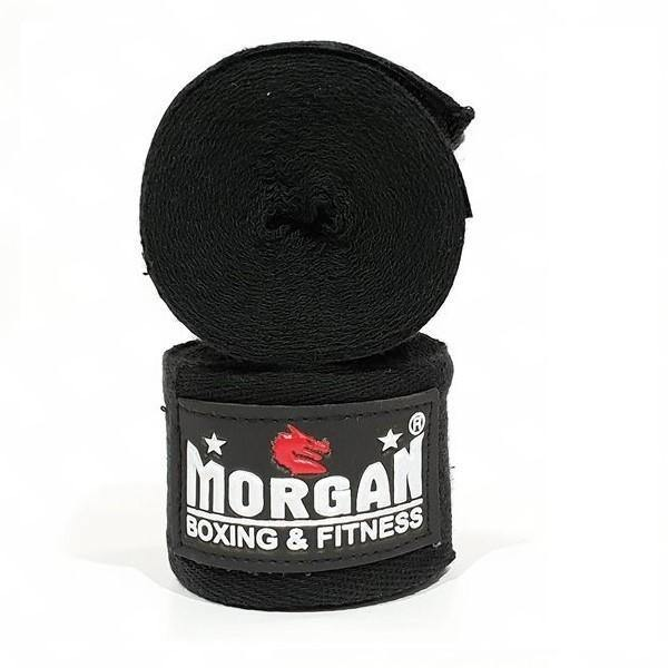 Morgan Boxing Cotton Hand Wraps 4m (Pair)-Boxing Fist Wraps, Knuckle Wraps and Inner Gloves-Morgan-Black-Cardio Online