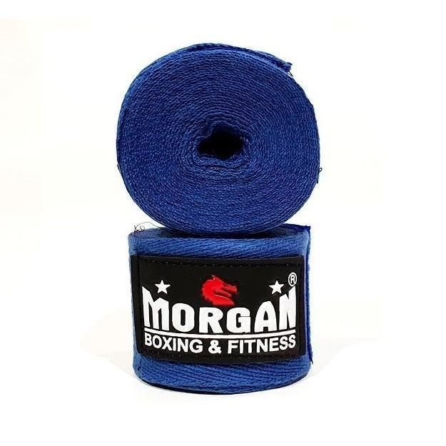Morgan Boxing Cotton Hand Wraps 4m (Pair)-Boxing Fist Wraps, Knuckle Wraps and Inner Gloves-Morgan-Blue-Cardio Online