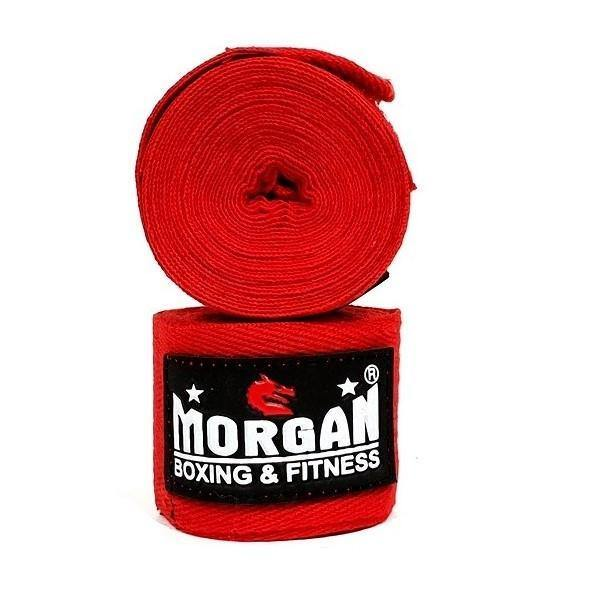 Morgan Boxing Cotton Hand Wraps 4m (Pair)-Boxing Fist Wraps, Knuckle Wraps and Inner Gloves-Morgan-Red-Cardio Online