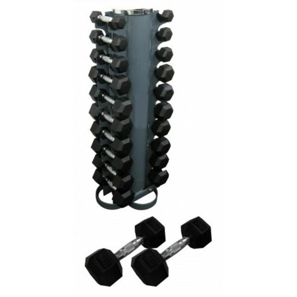 Morgan Rubber Hex Pack 133KG (2-12.5KG) + Vertical Stand