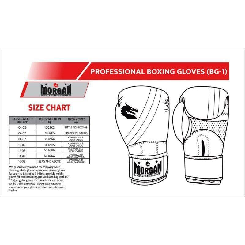 Morgan V2 Professional Leather Boxing Goves (10-16 Oz)-Boxing Gloves & Mitts-Morgan-10 Oz-White/Black-Cardio Online