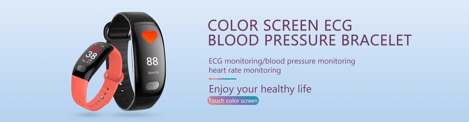 Color Screen ECG Blood Pressure Smart Bracelet