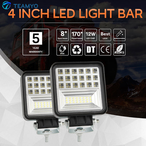 48W Square LED Car HeadLights Cube Work Lights
