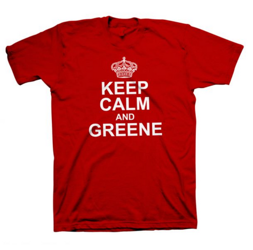 Jackie Greene keep calm and & greene tshirt red tee shirt merch made in america