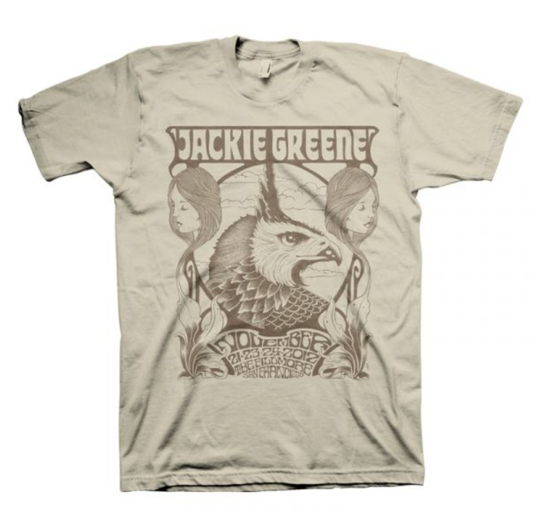 Jackie Greene limited edition fillmore mens short sleeve tan beige tshirt 2012 tee shirt merch made in america
