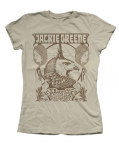 Jackie Greene limited edition fillmore women's short sleeve tan beige tshirt 2012 tee shirt merch made in america