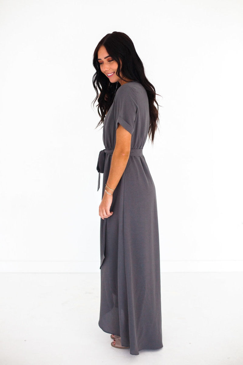Mirella Wrap Dress Charcoal