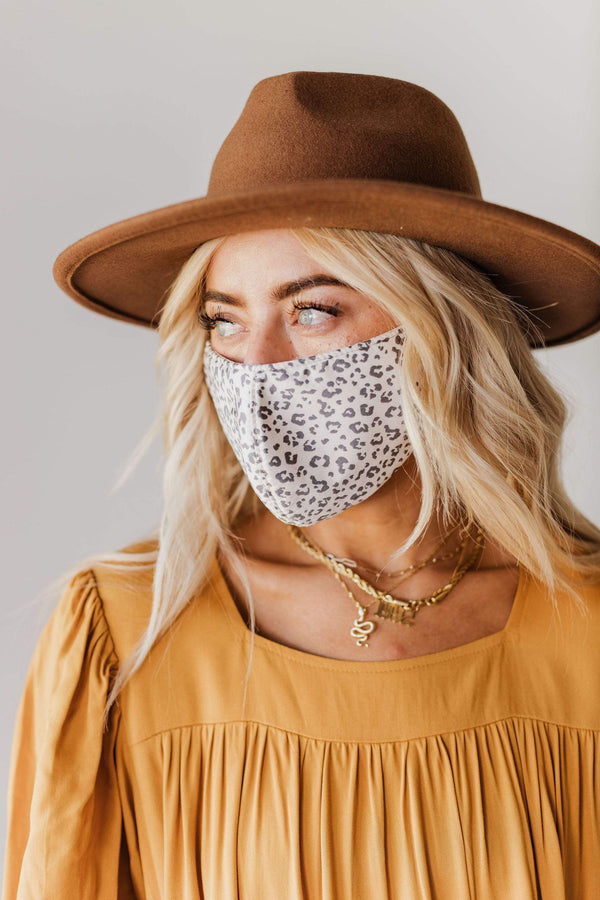Accessories 100% Cotton Reusable Face Mask Ivory Leopard