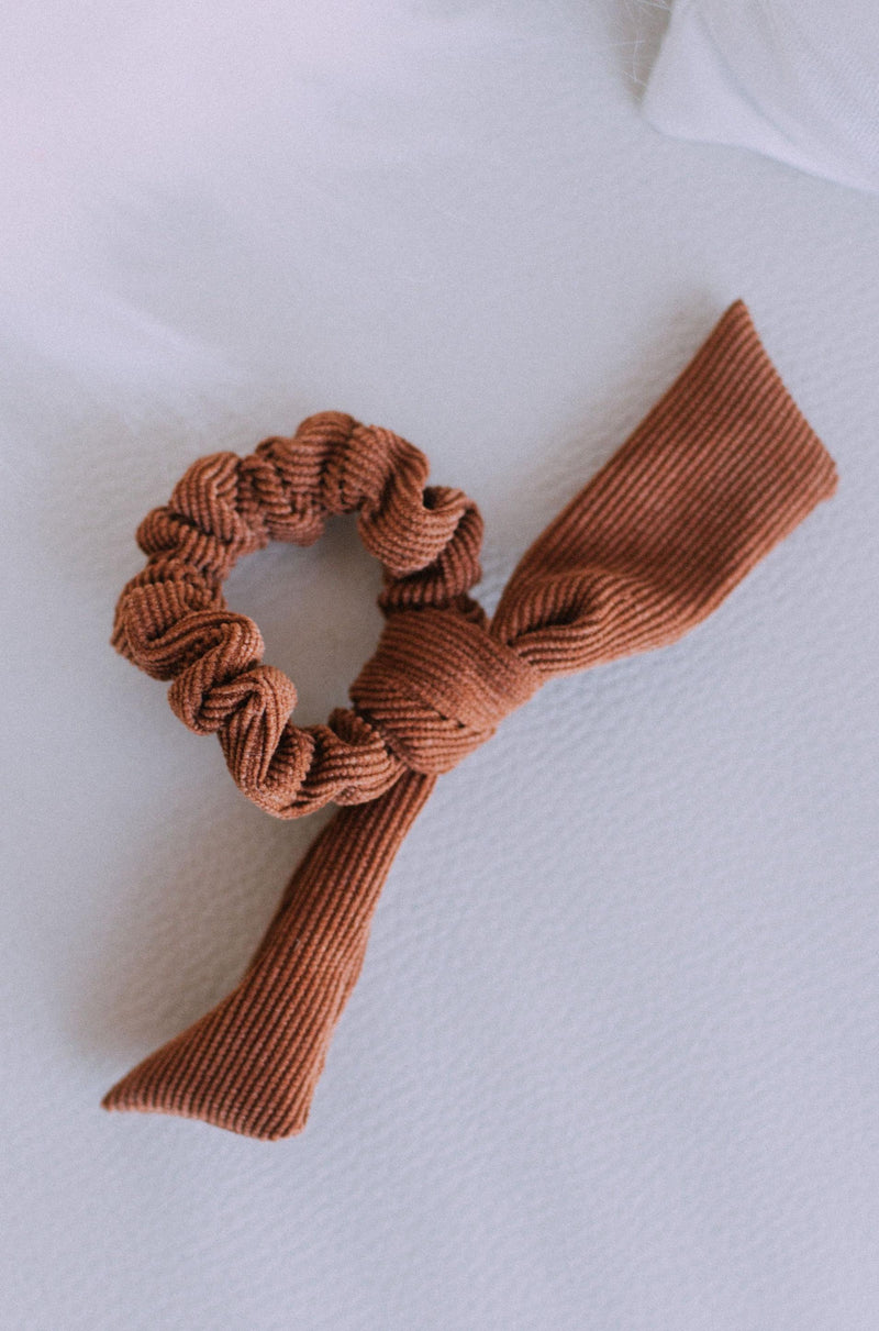 Accessories Bow Scrunchie Brown Corduroy