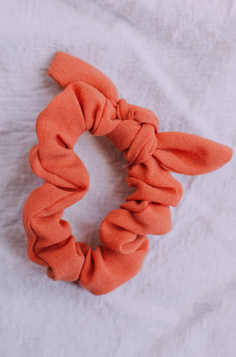 Accessories Bow Scrunchie Solid Coral