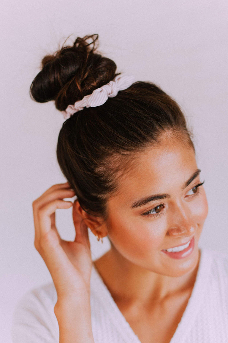 Accessories Bow Scrunchie Stripe Blush