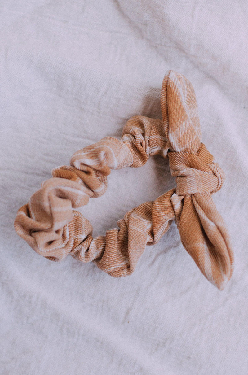 Accessories Bow Scrunchie Taupe Plaid