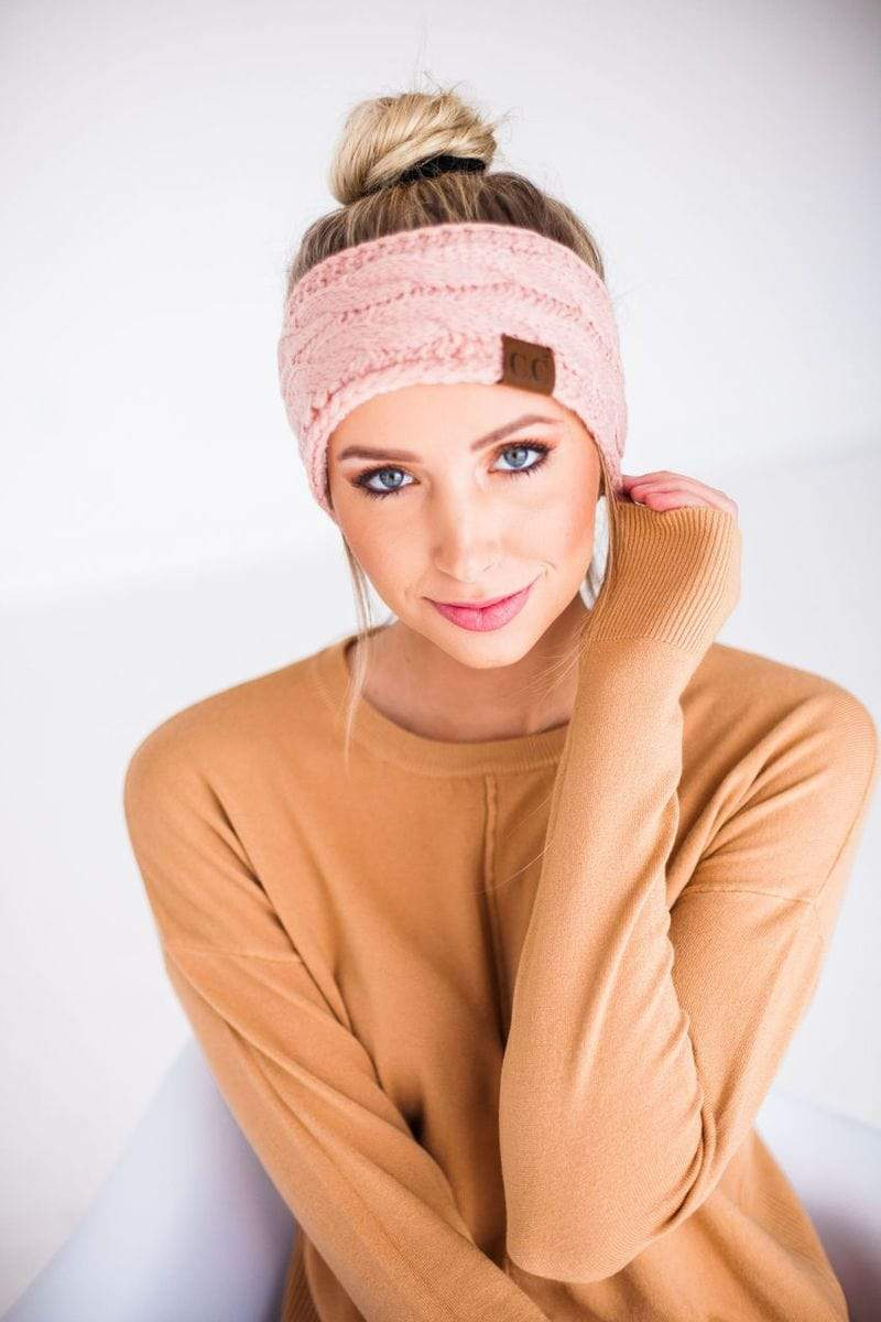 Accessories Cable Knit Head Wrap Blush