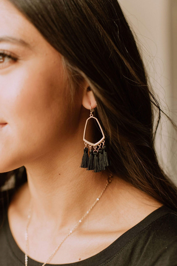 Accessories Casablanca Fringe Earrings Black