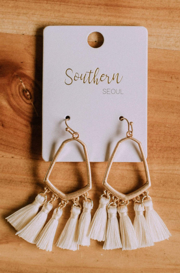 Accessories Casablanca Fringe Earrings Cream