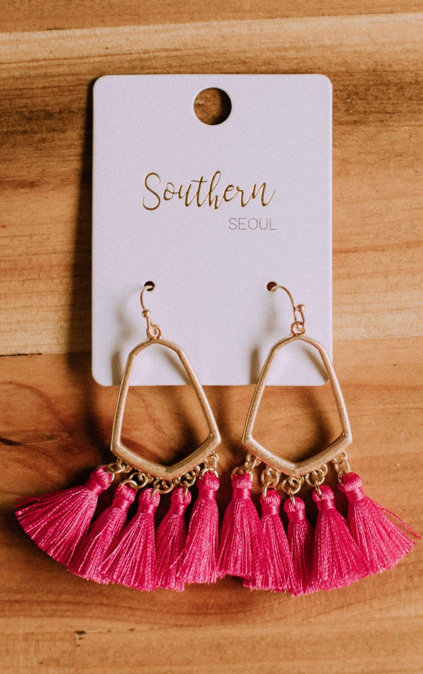 Accessories Casablanca Fringe Earrings Fuchsia
