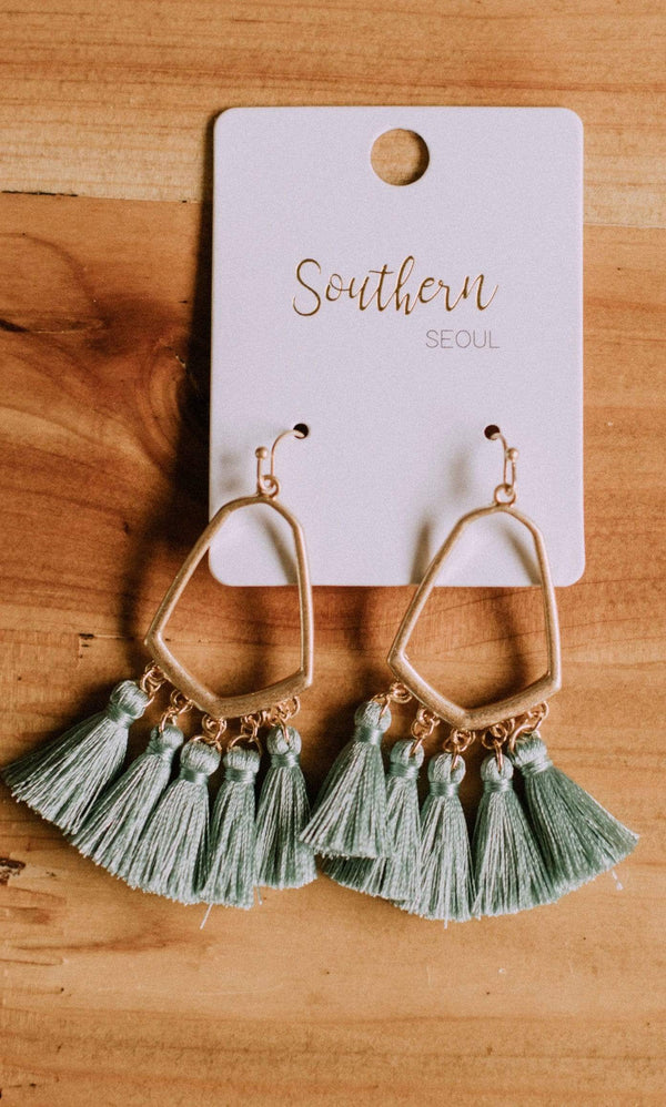 Accessories Casablanca Fringe Earrings Mint
