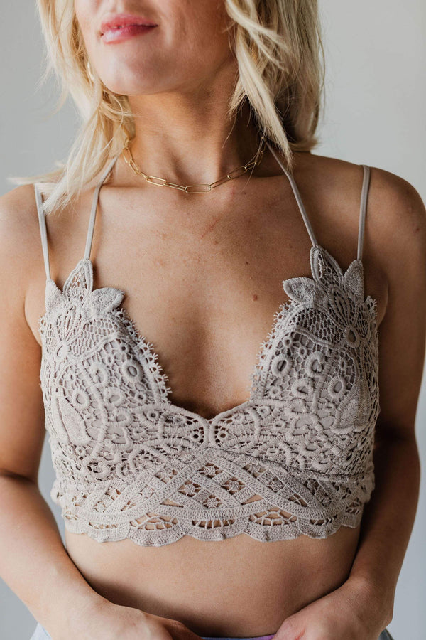 Accessories Crochet Lace Bralette Taupe