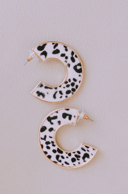 Accessories Diva Earrings Ivory Leopard Print