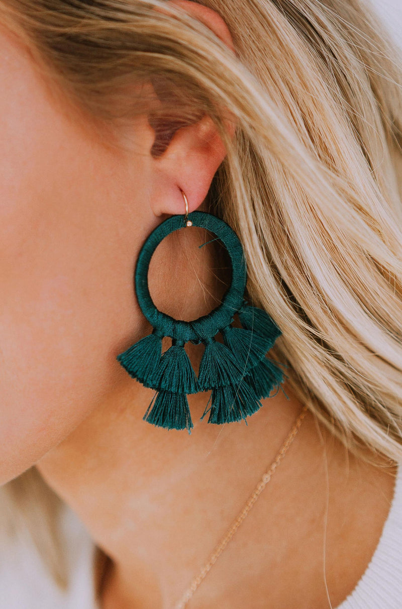 Accessories Flirtatious Tassel Earrings Hunter Green