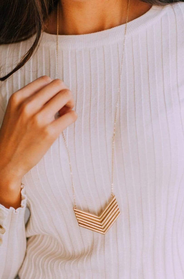 Accessories Follow Me Chevron Necklace Gold