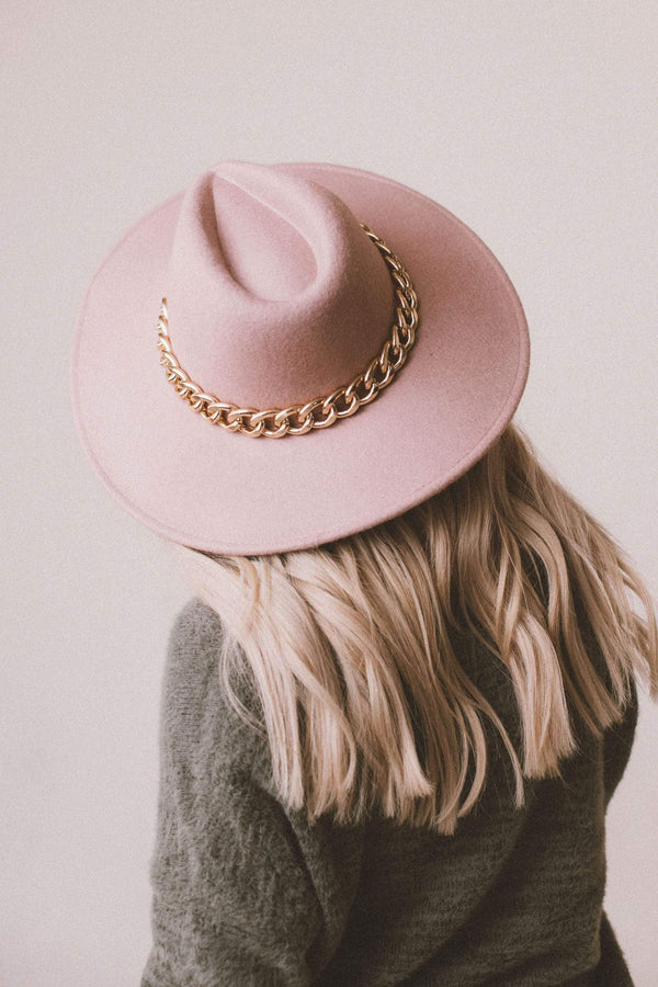 Accessories: Hat Malone Rambler Hat with Chain Blush