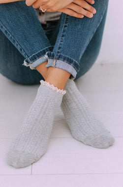 Accessories Lace Bootie Socks Grey