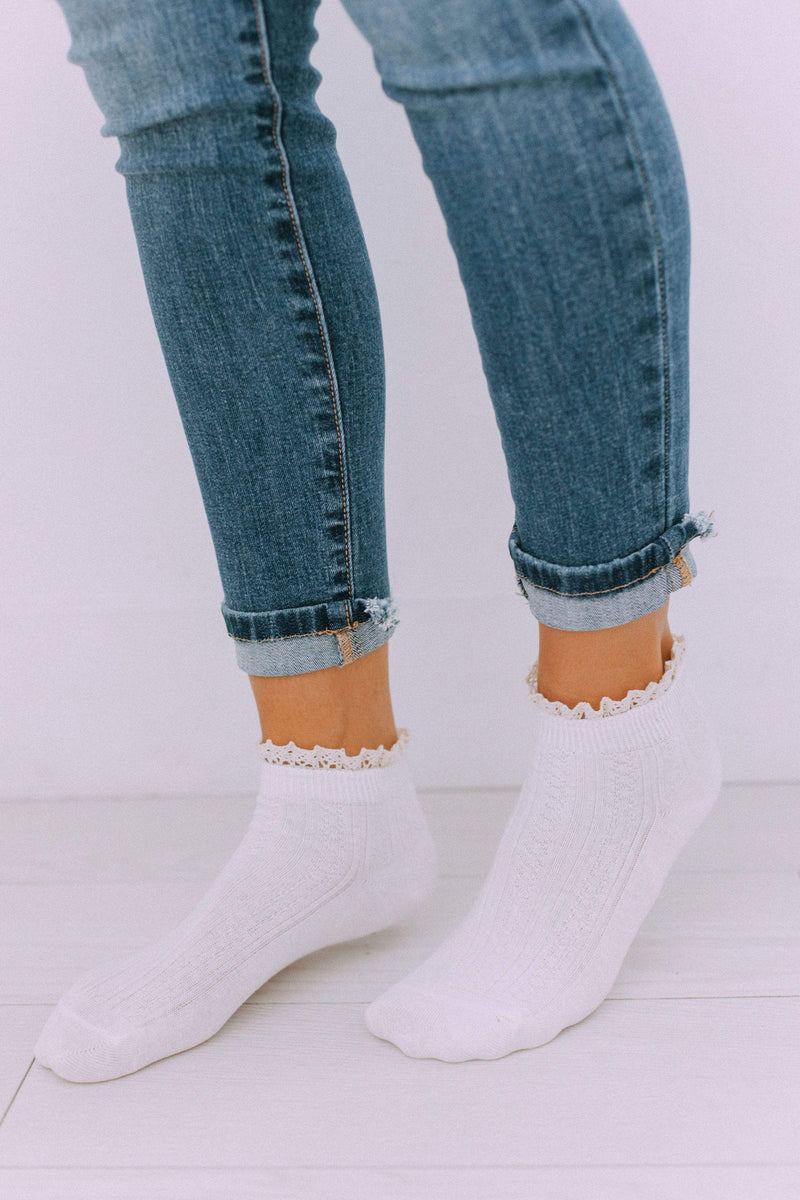 Accessories Lace Bootie Socks Ivory