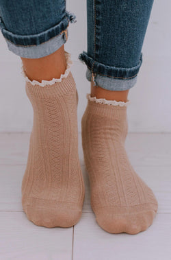 Accessories Lace Bootie Socks Taupe