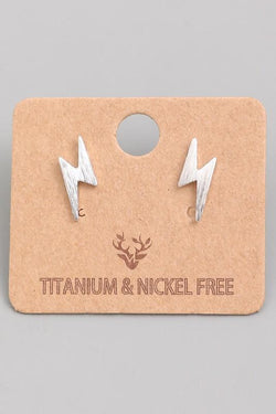 Accessories Lightning Bolt Stud Earrings Silver