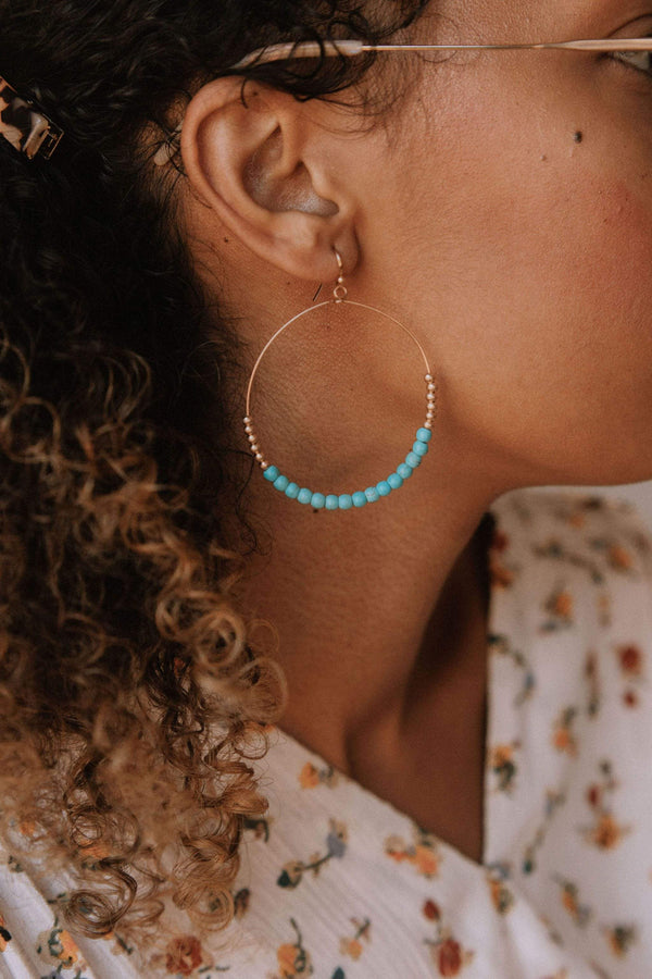 Accessories Peitha Beaded Hoops Turquoise