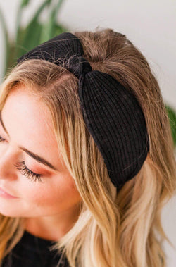 Accessories Ribbed Headband Black