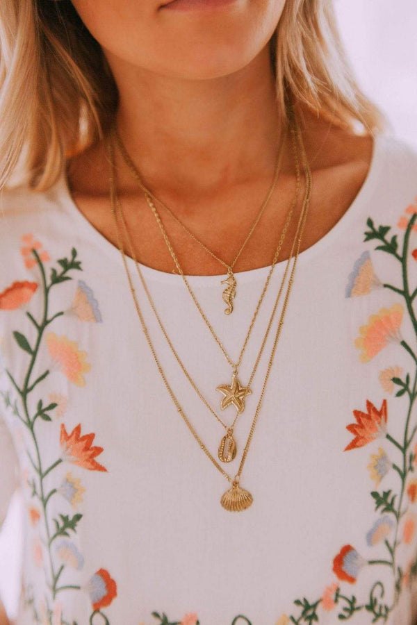 Accessories Seaside Layered Necklace Gold