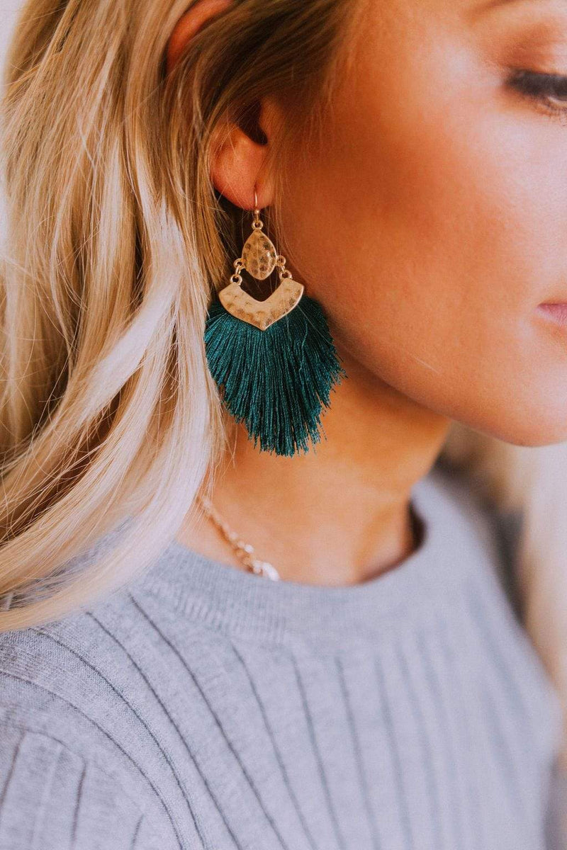 Accessories Shake Your Tail Feather Earrings Hunter Green