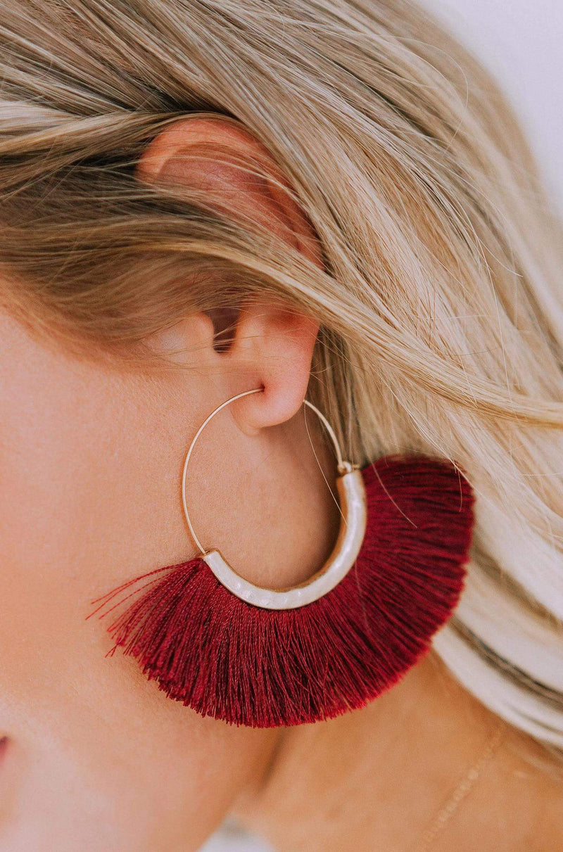 Accessories Soul Sister Earrings Burgundy