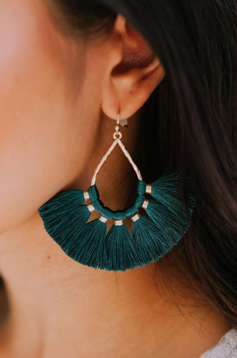 Accessories Sweep Me Off My Feet Earrings Hunter Green