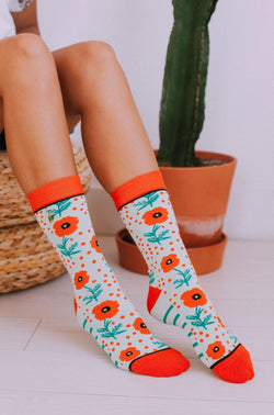 Accessories Woven Pear Poppy and Dot Socks