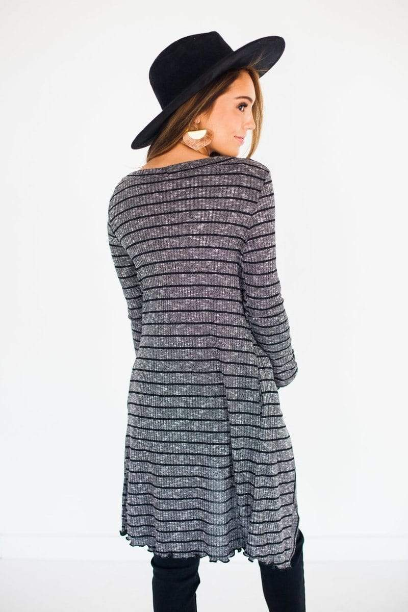 Amelia Striped Cardigan Black