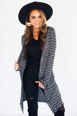 Amelia Striped Cardigan Black Small