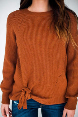 Baylor Side Tie Sweater Rust S/M