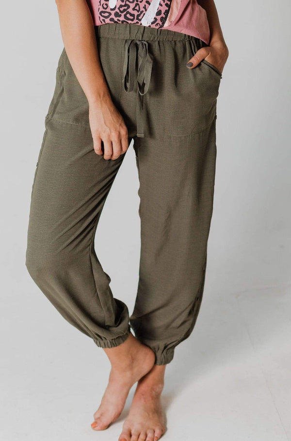 Bottoms Amberly Button Joggers Olive