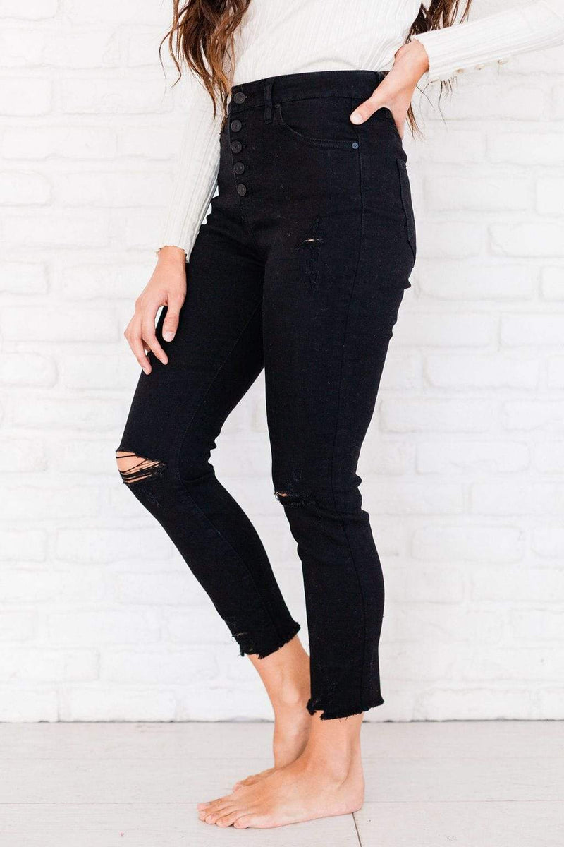 Bottoms Cheryl Distressed Jeans Black