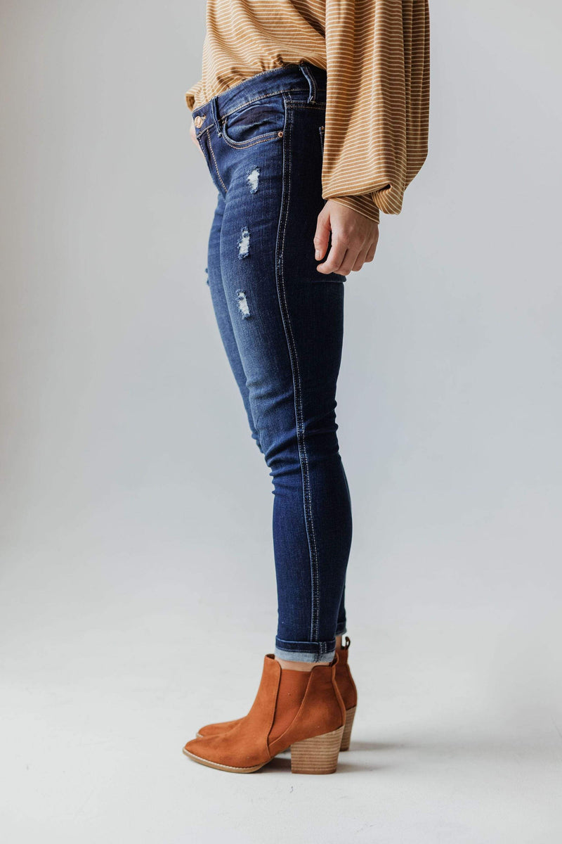 Bottoms Elaine Mid Rise Crop Skinny Jean Dark