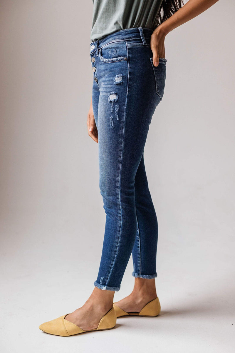 Bottoms Jo Mid Rise Button Fly Distressed Skinny Jean
