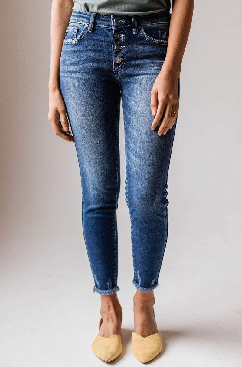 Jo Mid Rise Button Fly Distressed Skinny Jean
