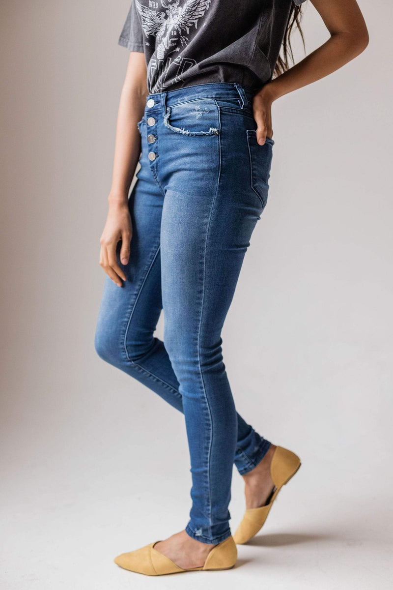Bottoms Kayla High Rise Button Fly Skinny Jean