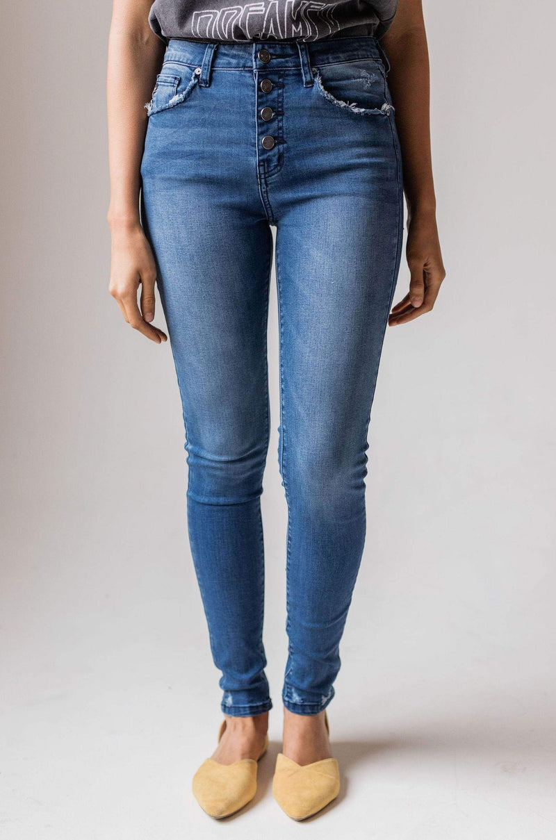 Kayla High Rise Button Fly Skinny Jean