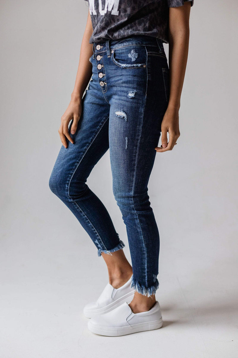 Bottoms Lyndsey High Rise Button Fly Skinny Jean
