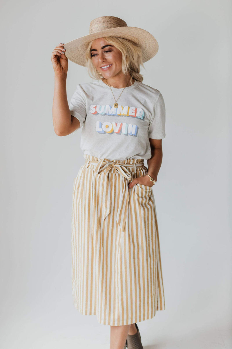 Bottoms Miranda Striped Skirt Mustard